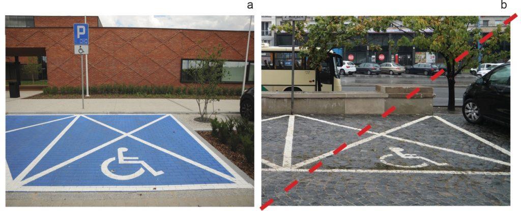 Nawierzchnia miejsca postojowego dla osób zniepełnosprawnością zdj. a:  równa igładka kostka betonowa – zalecana,  zdj. b:  bruk kamienny - rozwiązanie niepoprawne