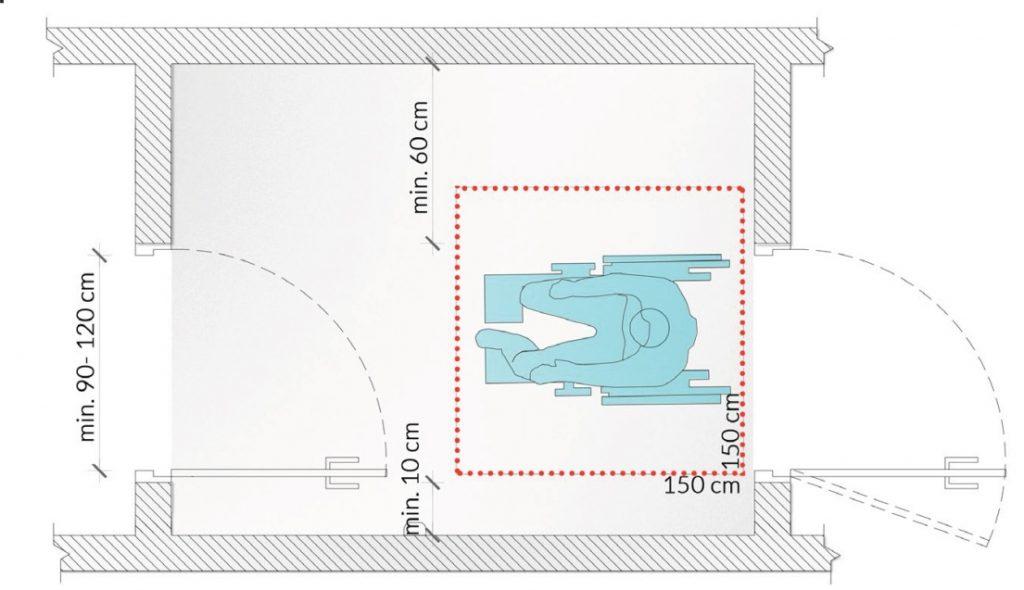 Rys. 16. Przykładowe rozwiązanie przestrzeni wiatrołapu zzapewnieniem niezbędnych wymiarów orazprzestrzeni manewrowej