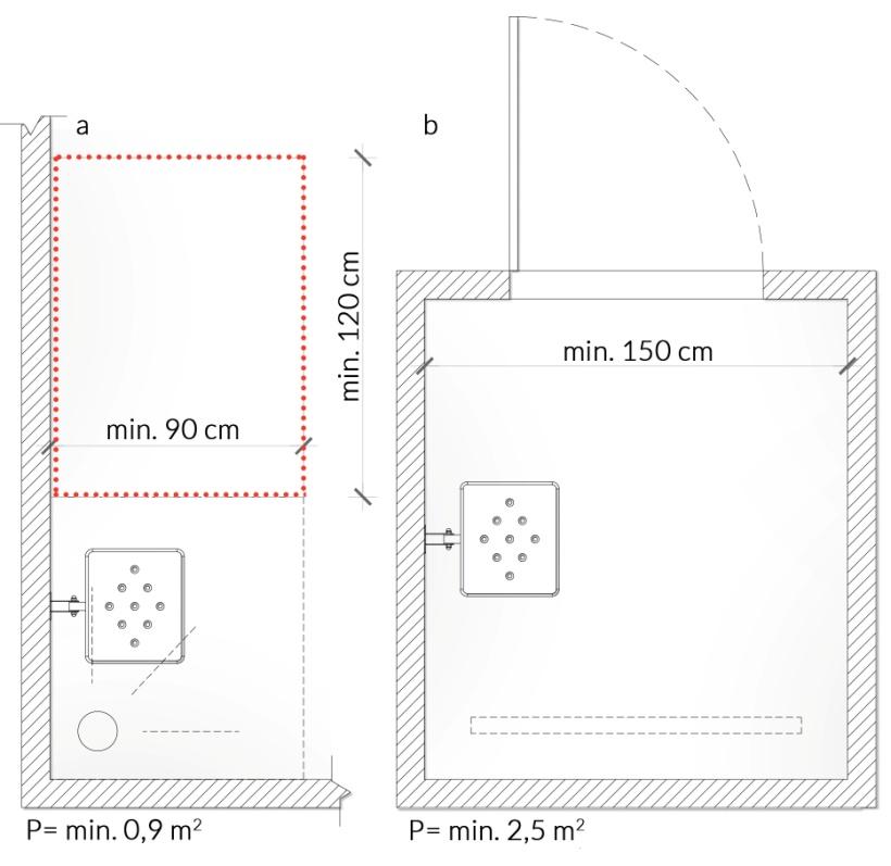 Rys. 49. Wymiary prysznica dostosowanego dla osób zniepełnosprawnościami: a) prysznic otwarty, b) prysznic zamknięty