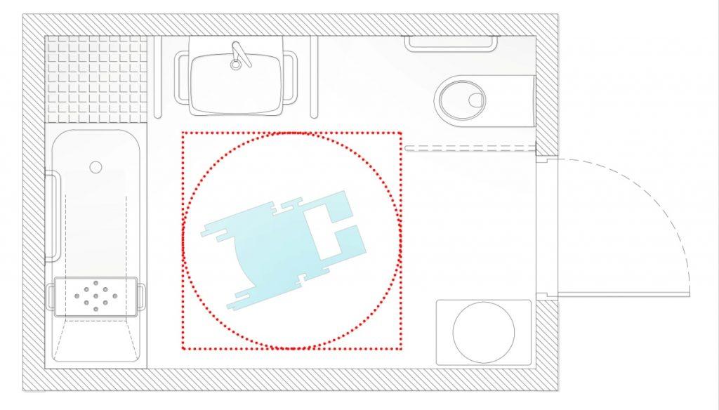 Rys. 51. Przykładowa aranżacja łazienki przystosowanej dopotrzeb osób zniepełnosprawnościami