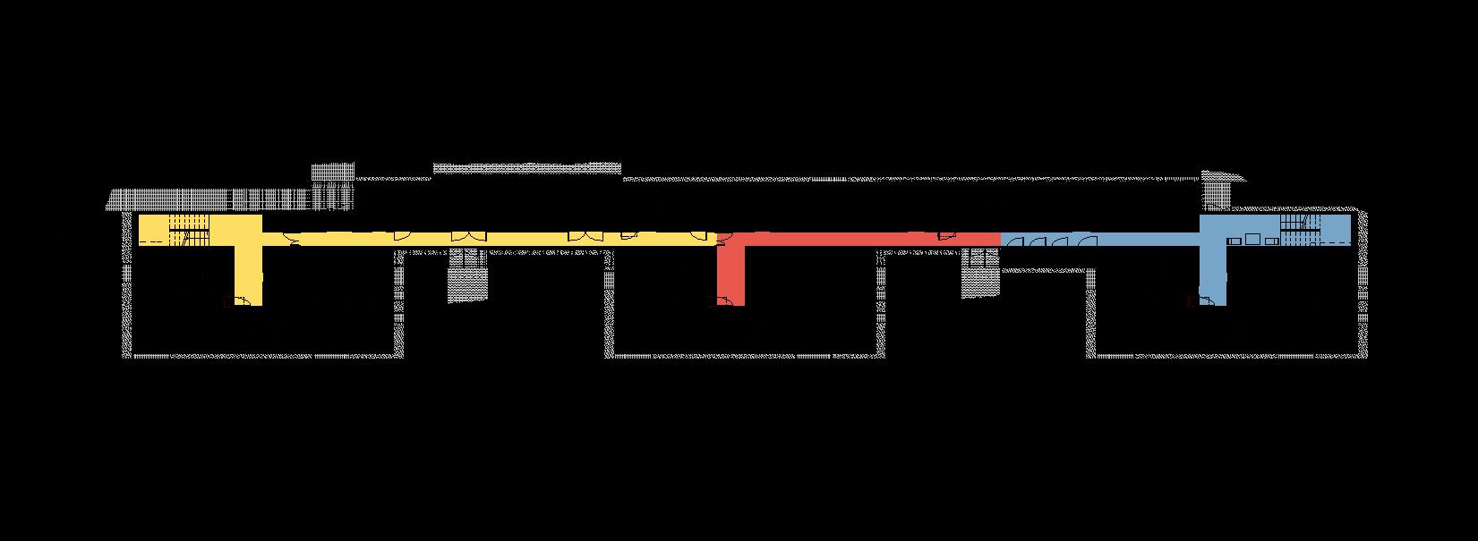 """Rys. 62. Rzut parteru zespołu segmentów mieszkalnych dla osób wpodeszłym wieku. """"Wytyczne wzakresie projektowania uniwersalnego mając nauwadze potrzeby osób niepełnosprawnych"""", Warszawa 2016 – ekspertyza wykonana przezFundację Laboratorium Architektury 60+ nazlecenie Ministerstwa Infrastruktury iBudownictwa"""