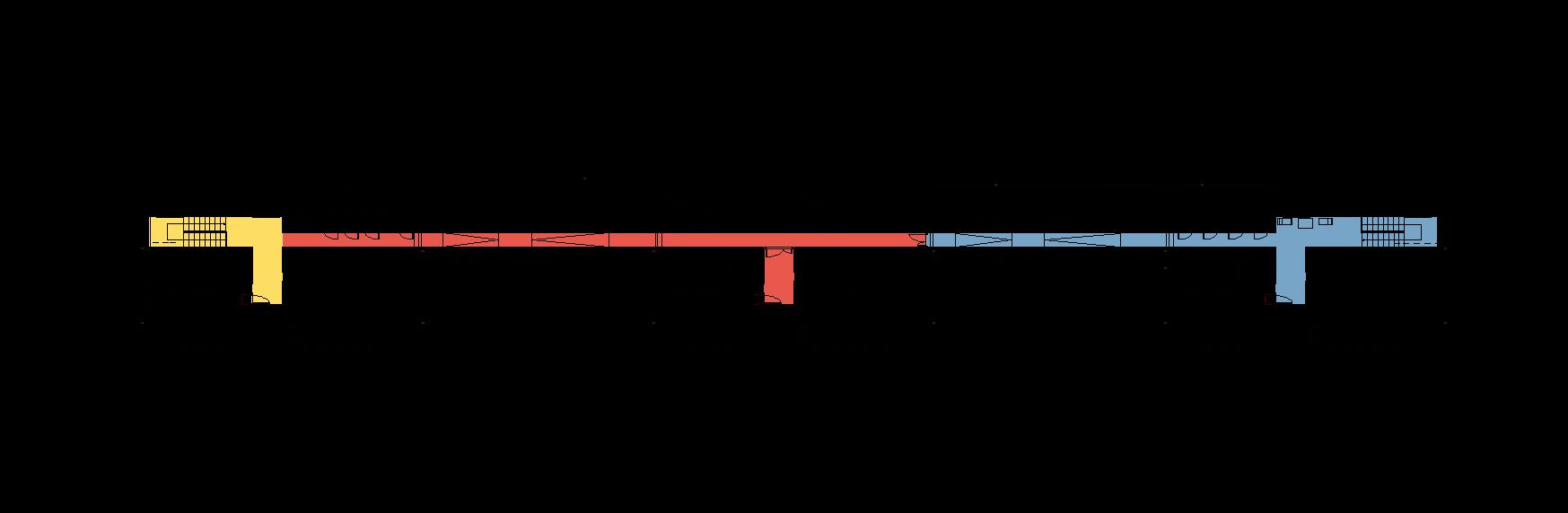 """Rys. 63. Rzut piętra zespołu segmentów mieszkalnych dla osób wpodeszłym wieku.  """"Wytyczne wzakresie projektowania uniwersalnego mając nauwadze potrzeby osób niepełnosprawnych"""", Warszawa 2016 – ekspertyza wykonana przezFundację Laboratorium Architektury 60+ nazlecenie Ministerstwa Infrastruktury iBudownictwa."""