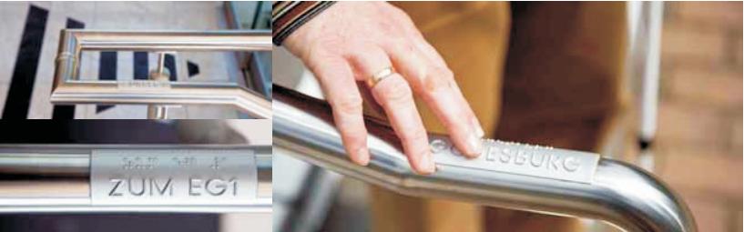 """Zdj. 8 . Oznaczenia dotykowe nakońcu poręczy walfabecie Braille'a. Źródło ilustracji: Centrum Projektowania Uniwersalnego, Politechnika Gdańska, ,,Standardy dostępności dla miasta Gdyni"""", 2016"""