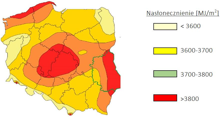 Średnie nasłonecznienie wPolsce wMJ/m2: 3800 – 3700 MJ/m2  - północno -zachodnia, południowo -wschodnia, centralna część Polski 3700 – 3600 MJ/m2    - północna ipołudniowa część Polski Poniżej 3600 MJ/m2  - północno -wschodnia, południowo-zachodnia, zachodnia część Polski