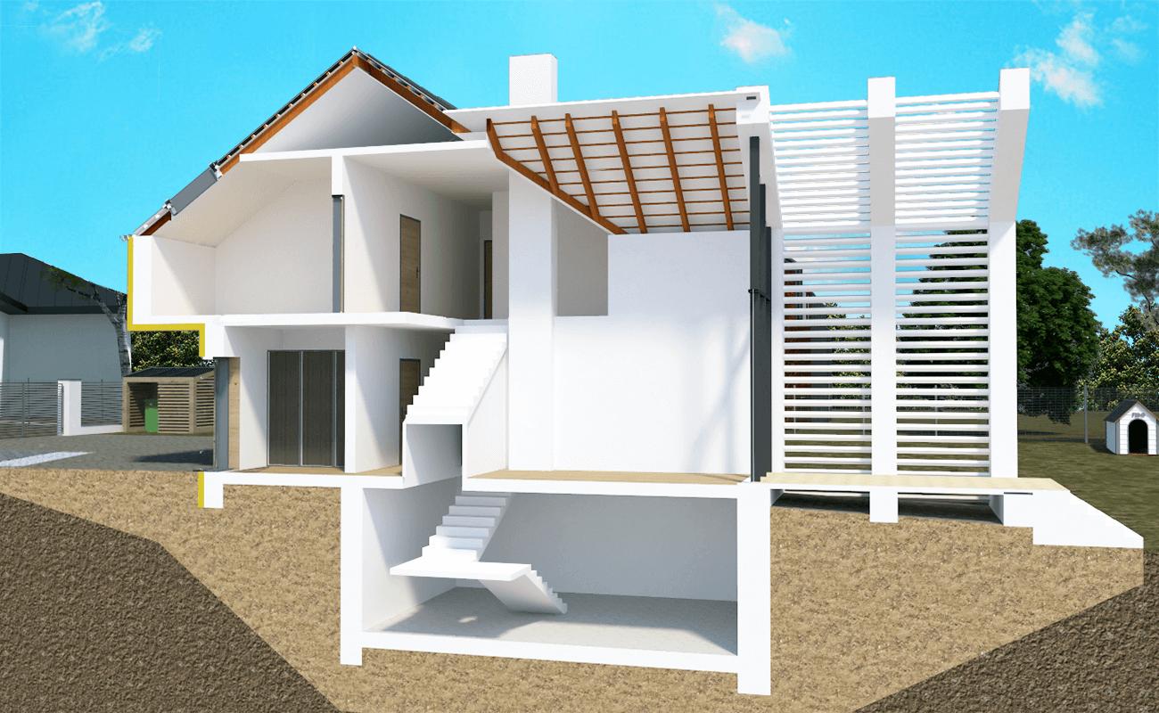 Kadr 8 - Przekrój domu ze strychem i piwnicą