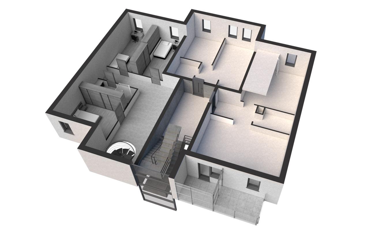 Rzut VIII Piętro - stan surowy