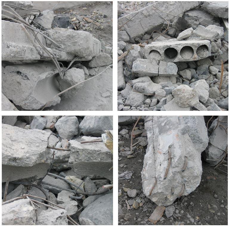 Rys. 10. Widok elementów prefabrykowanych iich zbrojenia podczas rozbiórki budynku wielkopłytowego /źródło: J. Szulc/
