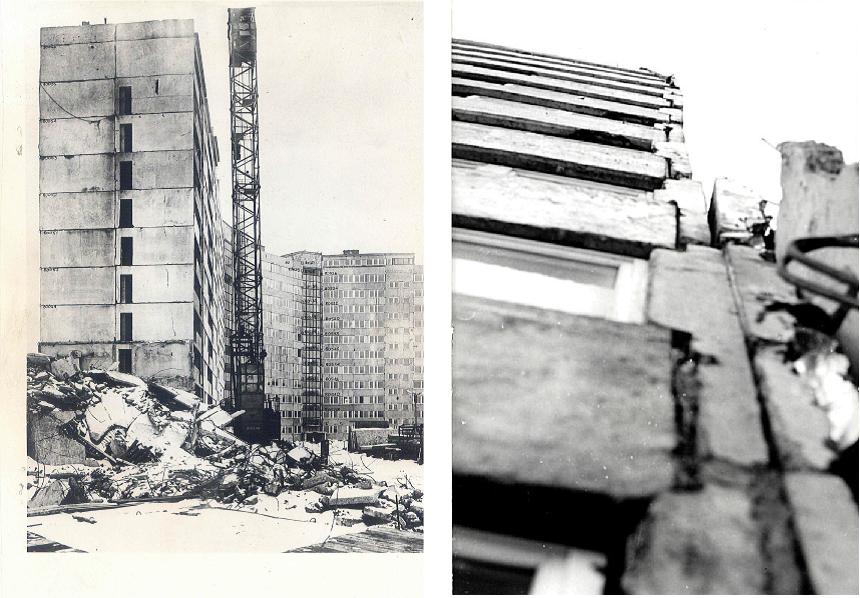 Rys. 2 Katastrofa budowlana wznoszonego segmentu budynku WWP wPolkowicach w1979 r. wynikająca zbłędów projektowych systemu, niskiej jakości produkcji prefabrykatów iich montażu /źródło: ITB/