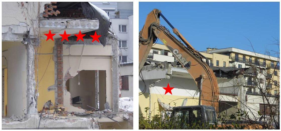 Rys. 3 Przykłady stabilizacji stropów kanałowych ipodciągów prefabrykowanych pousunięciu elementów podporowych /źródło: J. Szulc/
